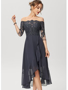 A-Line Off-the-Shoulder Asymmetrical Chiffon Lace Cocktail Dress With Sequins