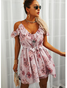 Floral Print A-line Cold Shoulder Short Sleeves Midi Casual Vacation Skater Dresses