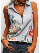 Regular Cotton Blends Lapel Floral Print Fitted Blouses