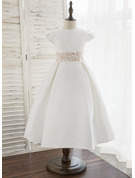 Tea-length Flower Girl Dress - Satin Short Sleeves Scoop Neck
