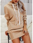 Solid Shift Long Sleeves Midi Casual Sweatshirt Dresses
