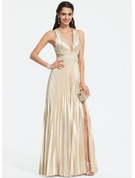 V-neck Floor-Length Charmeuse Prom Dresses With Beading Sequins Split Front