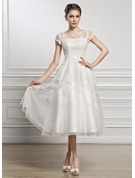 A-Line Illusion Tea-Length Tulle Lace Wedding Dress With Beading Sequins