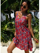 Floral Print Shift Spaghetti Straps Sleeveless Midi Casual Vacation Dresses