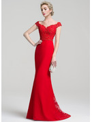 Trumpet/Mermaid Off-the-Shoulder Sweep Train Chiffon Lace Evening Dress