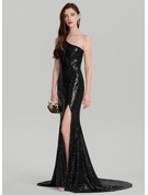 Sheath/Column One-Shoulder Court Train Sequined Prom Dresses