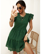 Solid A-line Round Neck Short Sleeves Midi Casual Skater Dresses