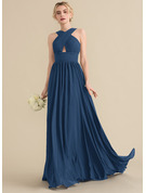 V-neck Sweep Train Chiffon Bridesmaid Dress