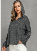 Solid Polyester Hooded Pullovers Sweaters