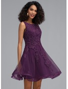 A-Line Scoop Neck Short/Mini Tulle Homecoming Dress With Beading
