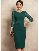 Sheath/Column Scoop Neck Knee-Length Lace Stretch Crepe Mother of the Bride Dress With Sequins