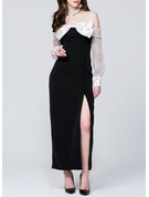 Polyester With Bowknot/Stitching Maxi Dress