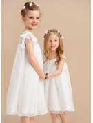 Knee-length Flower Girl Dress - Chiffon Short Sleeves Scoop Neck With Lace