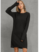 Solid Polyester Round Neck Pullovers Sweater Dresses Sweaters