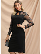 Lace With Solid Knee Length Dress