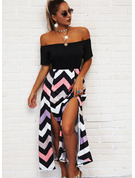 Striped A-line Off the Shoulder Short Sleeves Maxi Casual Vacation Skater Dresses