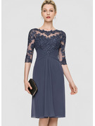 Sheath/Column Scoop Neck Knee-Length Chiffon Cocktail Dress
