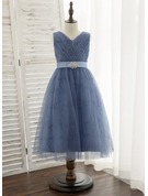 A-Line Tea-length Flower Girl Dress - Satin/Tulle Sleeveless V-neck With Rhinestone