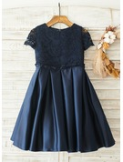 A-Line Knee-length Flower Girl Dress - Satin/Lace Short Sleeves Scoop Neck With Back Hole