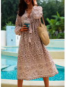 Leopard Shift V-Neck Long Sleeves Midi Casual Tunic Dresses
