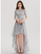A-Line Scoop Neck Asymmetrical Tulle Lace Prom Dresses