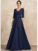 A-Line V-neck Floor-Length Stretch Crepe Evening Dress With Bow(s)