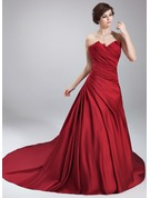 Ball-Gown Scalloped Neck Chapel Train Satin Quinceanera Dress With Ruffle