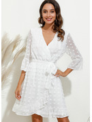 Solid Sheath V-Neck 3/4 Sleeves Midi Casual Elegant Wrap Dresses