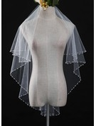 One-tier Pearl Trim Edge Waltz Bridal Veils With Lace