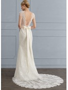Trumpet/Mermaid V-neck Chapel Train Lace Wedding Dress With Beading Bow(s)