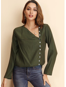 Long Sleeves Cotton Blends Polyester V Neck Blouses