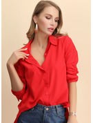 Long Sleeves Chiffon Cotton Polyester Lapel Shirt Blouses Blouses