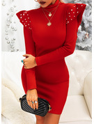 Solid Beaded Bodycon High Neck Long Sleeves Midi Elegant Little Black Party Dresses