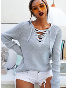 Ribbed Polyester Hooded Pullovers Sweaters