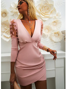 Solid Bodycon V-Neck Long Sleeves Puff Sleeves Midi Elegant Party Dresses