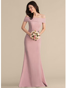 Trumpet/Mermaid Off-the-Shoulder Floor-Length Stretch Crepe Prom Dresses