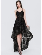 A-Line/Princess V-neck Asymmetrical Lace Evening Dress