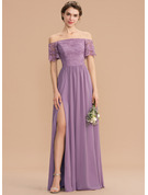 Off-the-Shoulder Floor-Length Chiffon Lace Bridesmaid Dress With Split Front