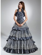 Ball-Gown Halter Sweep Train Taffeta Quinceanera Dress With Lace Cascading Ruffles
