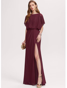 A-Line Scoop Neck Floor-Length Chiffon Prom Dresses With Ruffle Split Front