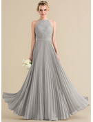Scoop Neck Floor-Length Chiffon Lace Prom Dresses