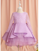 Ball-Gown/Princess Knee-length Flower Girl Dress - Satin Long Sleeves Scoop Neck With Lace/Bow(s)/V Back
