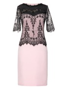 Cotton Blends With Lace/Stitching Knee Length Dress