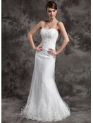 Trumpet/Mermaid Sweetheart Court Train Tulle Wedding Dress With Lace Beading