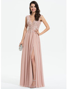 A-Line V-neck Floor-Length Chiffon Evening Dress With Lace Split Front