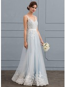 A-Line/Princess V-neck Floor-Length Tulle Lace Wedding Dress With Beading Sequins