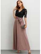 Polyester With Lace/Slit Maxi Dress