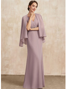 Trumpet/Mermaid V-neck Floor-Length Chiffon Mother of the Bride Dress With Ruffle Beading