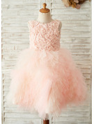 A-Line Knee-length Flower Girl Dress - Tulle/Lace Sleeveless Scoop Neck With V Back