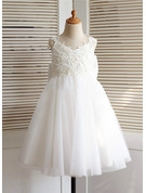 A-Line/Princess Knee-length Flower Girl Dress - Tulle Sleeveless Straps With Appliques/Bow(s)/V Back
